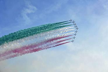 Italian Aerobatic Squadron, Frecce Tricolori, Air Show 2019, Lignano Sabbiadoro, Lignano, Adria, Friuli Venezia Giulia, Italy, Europe
