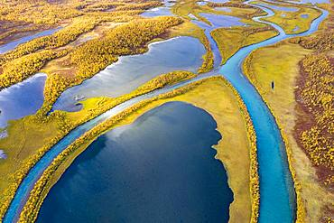Autumnal river landscape from the air, detail view, river course of Visttasjohka, Nikkaluokta, Lapland, Sweden, Europe