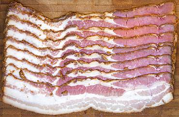 Sliced Tyrolean alpine bacon, smoked ham, Austria, Europe