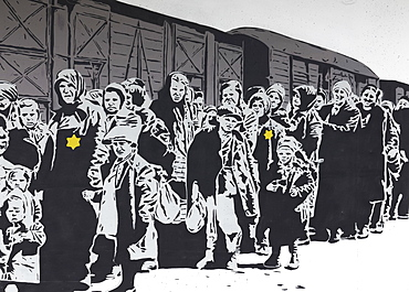 Column of Jews with a Jewish star in front of a freight car, deportation, Holocaust, mural by street artist Lacuna, 40 Grad Urban Art Festival 2019, Duesseldorf, North Rhine-Westphalia, Germany, Europe