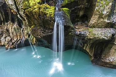Waterfall in Soca Canyon, Soca valley, Triglav National Park, Slovenia, Europe