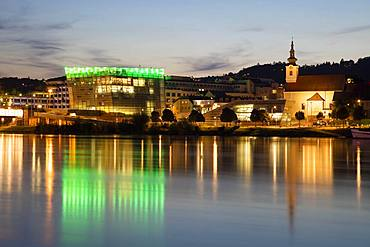 Danube bank with Ars Electronica Center at dusk, Linz, Upper Austria, Austria, Europe