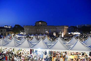 Stalls, Summer Jamboree, Rock'n'Roll Festival, Fortress, Rocca Roveresca di Senigallia, Senigallia, Province of Ancona, Marches, Italy, Europe