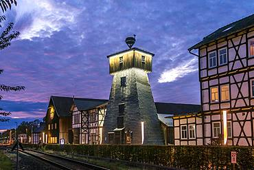 Drilling tower of the graduation facilities at dusk, Bad Salzungen, Thuringia, Germany, Europe