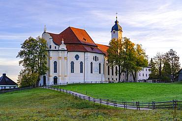 Wieskirche in the morning light, pilgrimage church to the Scourged Saviour on the Wies, Wies, near Steingaden, Pfaffenwinkel, Upper Bavaria, Bavaria, Germany, Europe