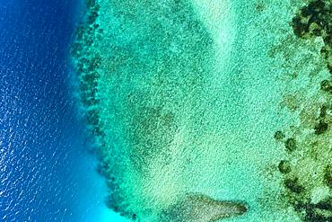 Aerial view, lagoon of a Maldives island with corals from above, South-Male-Atoll, Maldives, Asia