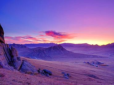 Dawn, rock formations in Gorchi Terelj National Park, Ulan Bator, Mongolia, Asia