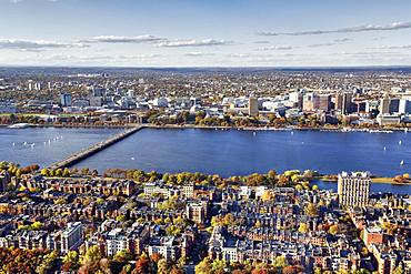 View from Prudential Tower to Back Bay, Charles River and Cambridge, Boston, Massachusetts, New England, USA, North America