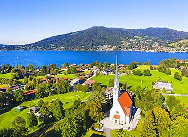 Parish church Assumption of Mary, Bad Wiessee, Tegernsee Valley, aerial view, Upper Bavaria, Bavaria, Germany, Europe