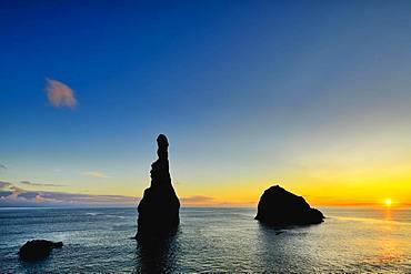 Volcanic rock formation Ilheus da Rib, steep coast of Ribeira de Janela, also Ribeira da Janela, sunrise, Porto Moniz, Madeira, Portugal, Europe