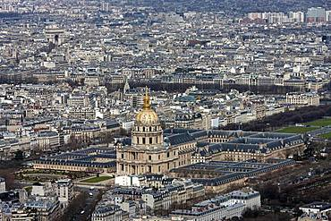 Invalidendom, view from the Montparnasse tower, Paris, France, Europe