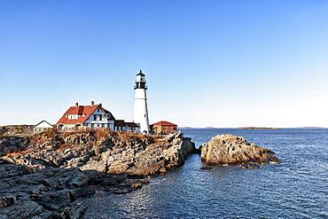 Lighthouse on rocky coast, Portland Head lighthouse, Cape Elizabeth, Portland, Maine, New England, USA, North America