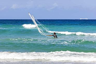 Net fisherman, Playas de Este, Sea, Havana, Cuba, Central America