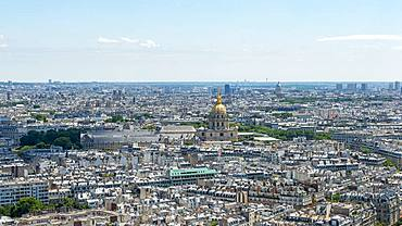 City view, view from the Eiffel Tower to the golden dome of the Chapel of Saint-Louis-des-Invalides, Hotel des Invalides, Paris, France, Europe