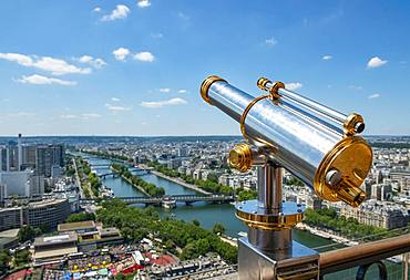 Telescope on the Eiffel Tower, view of the city with river Seine, Paris, France, Europe