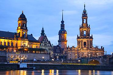 Hofkirche, St. Trinitatis Cathedral, Residenzschloss, Staendehaus, Terrace Shore, Evening Dawn, Dresden, Saxony, Germany, Europe