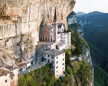Aerial view, mountain church on the slope, Madonna della Corona, chapel near Spiazzi, Ferrara di Monte Baldo, province Verona, Veneto, Northern Italy, Italy, Europe