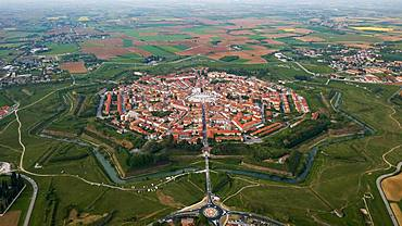Aerial view, star-shaped city with city wall and moat, Palmanova, Northern Italy, Italy, Europe