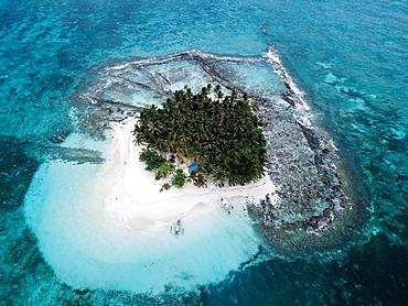 Aerial view, tropical palm island with sandy beach, Naked Island, SIargao, Philippines, Asia