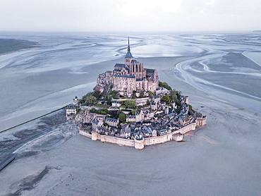 Aerial view, Mont St. Michel at low tide, Aerial view, Le Mont-Saint-Michel, Manche Department, Normandy, France, Europe