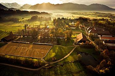 Gut Schwaiganger, horse breeding, country stud farm, Ohlstadt, Upper Bavaria, Bavaria, Germany, Europe
