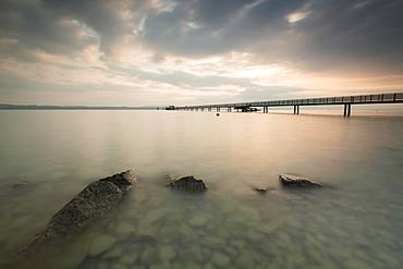 Longest jetty at Lake Constance in the morning light in Altnau, Lake Constance, Thurgau, Switzerland, Europe