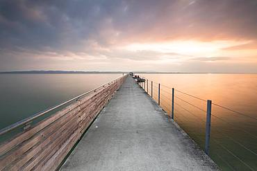 Morning atmosphere at the Laende, longest at the whole Lake Constance, in Altnau, Lake Constance, Thurgau, Switzerland, Europe