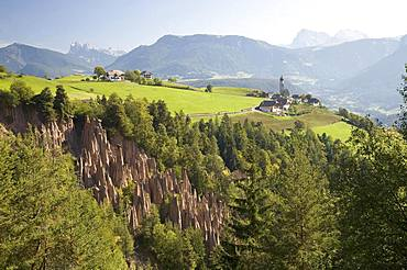 Earth pyramids on the Ritten, Dolomites, South Tyrol, Italy, Europe