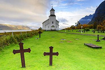 Crosses in cemetery and church, Gimsoy, Lofoten, Norway, Europe