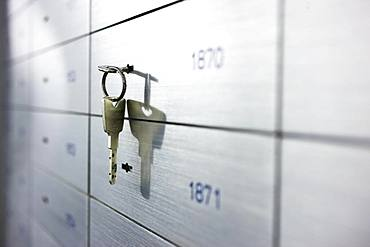 Locker with key in a financial institution, Duesseldorf, Germany, Europe