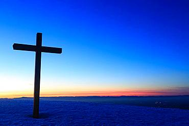 Summit cross of the Belchen with sunset after sunset, Black Forest, Baden-Wuerttemberg, Germany, Europe
