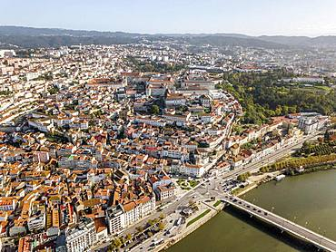 Aerial view, city center of historic Coimbra, Portugal, Europe