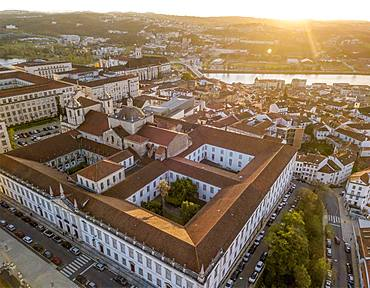 Aerial view of Coimbra university at sunset, Coimbra, Portugal, Europe