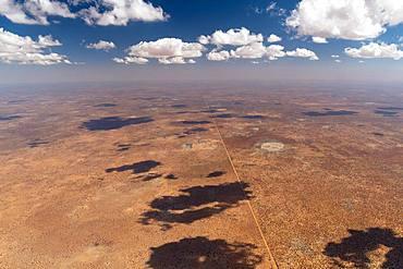 Desert, border between Nambia and Botwana, cloudy sky, Namibia, Africa