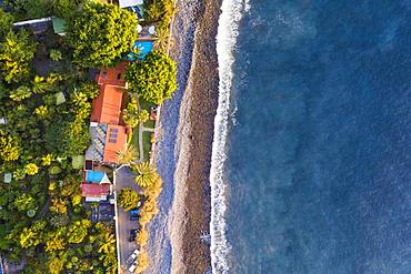 Beach Playa de Argaga and Finca Argayall in the evening light from above, Valle Gran Rey, aerial view, La Gomera, Canary Islands, Spain, Europe