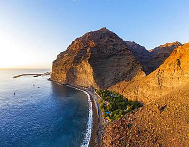 Port of Vueltas, Mount Tequergenche, Beach Playa de Argaga, Argaga Gorge, Valle Gran Rey, Aerial view, La Gomera, Canary Islands, Spain, Europe