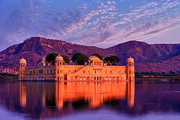 Jal Mahal, Water Palace at dusk, Jaipur, Rajasthan, India, Asia
