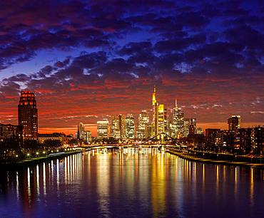 Skyline in afterglow, Frankfurt am Main, Hesse, Germany, Europe