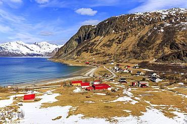 Village view of Grotfjord at Grotfjord Fjord, Island Kvaloya, Troms, Norway, Europe