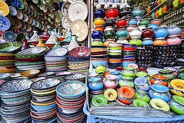Colorful ceramic bowls, old town of Marrakech, Morocco, Africa