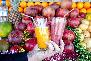 Mixed fruit juice and fresh orange juice, open air market in Marrakech, Morocco, Africa