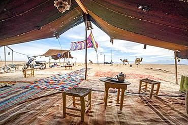Inside of Bedoiun tent, Agafay desert, Morocco, Africa
