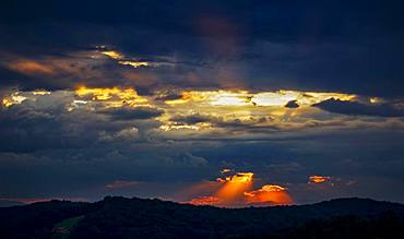 Cloud atmosphere, sunset in Bad Gleichenberg, Styrian thermal spa country, Styria, Austria, Europe
