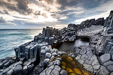 Coastal basalt cliffs, basalt columns, Blackhead, Dunedin, Otago, South Island, New Zealand, Oceania