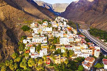 La Calera, Valle Gran Rey, aerial view, La Gomera, Canary Islands, Spain, Europe