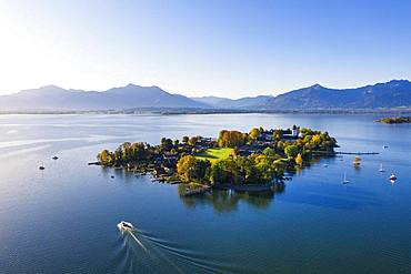 Fraueninsel with alpine chain, Frauenchiemsee, Chiemsee, Chiemgau, aerial view, alpine foreland, Upper Bavaria, Bavaria, Germany, Europe