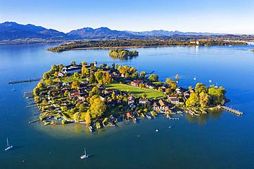 Fraueninsel, Frauenchiemsee, behind Krautinsel and Herreninsel, Chiemsee, Alps, Chiemgau, aerial view, Alpine foreland, Upper Bavaria, Bavaria, Germany, Europe