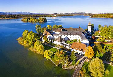 Benedictine monastery Frauenwoerth on Fraueninsel, Frauenchiemsee, behind Krautinsel and Herreninsel, Chiemsee, Alps, Chiemgau, aerial view, foothills of the Alps, Upper Bavaria, Bavaria, Germany, Europe