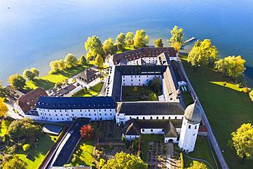Benedictine monastery Frauenwoerth on Fraueninsel, Frauenchiemsee, Chiemsee, Chiemgau, aerial view, Alpine foreland, Upper Bavaria, Bavaria, Germany, Europe