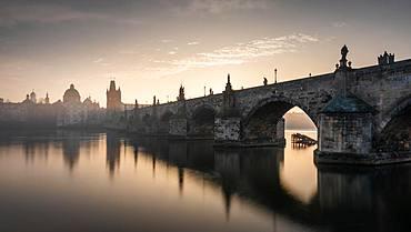 Charles Bridge in the morning at sunrise, Prague, Czech Republic, Europe
